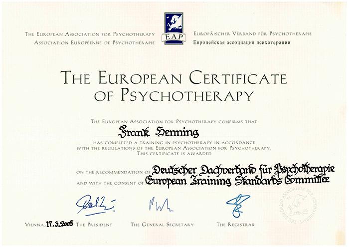 Europäisches Zertifikat für Psychotherapie
